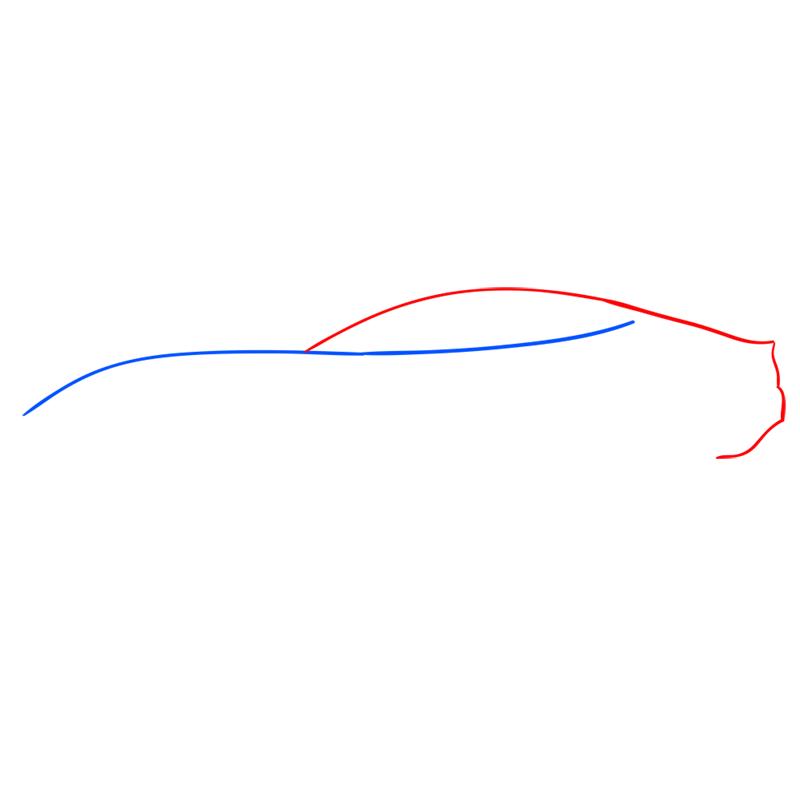 Learn easy to draw Ferrari F12 step 02
