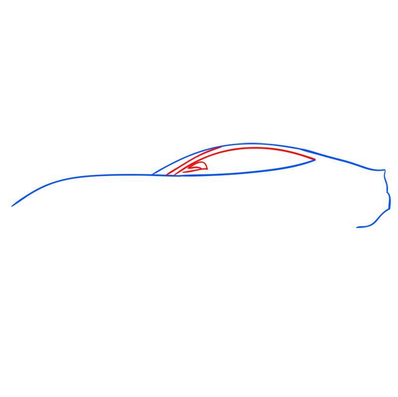 Learn easy to draw Ferrari F12 step 03