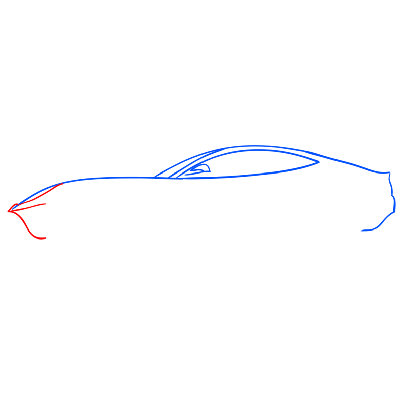 Learn easy to draw Ferrari F12 step 04