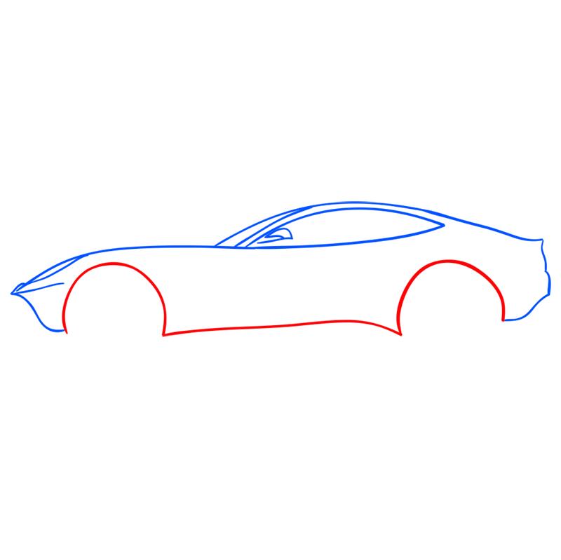 Learn easy to draw Ferrari F12 step 05