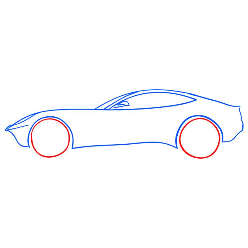 Learn easy to draw Ferrari F12 step 06