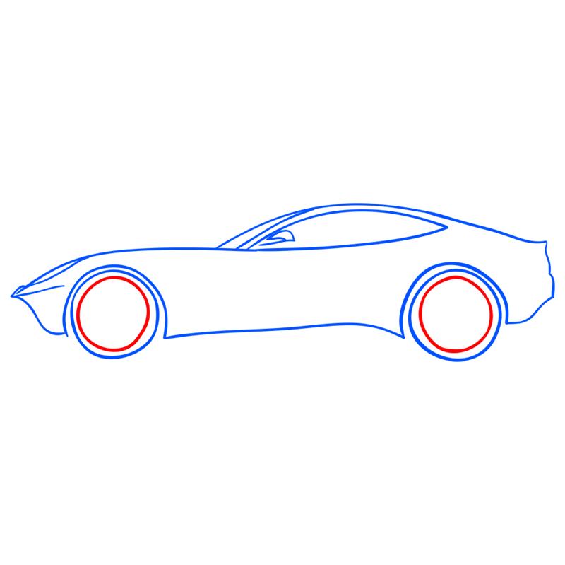 Learn easy to draw Ferrari F12 step 07