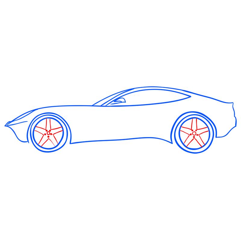 Learn easy to draw Ferrari F12 step 08