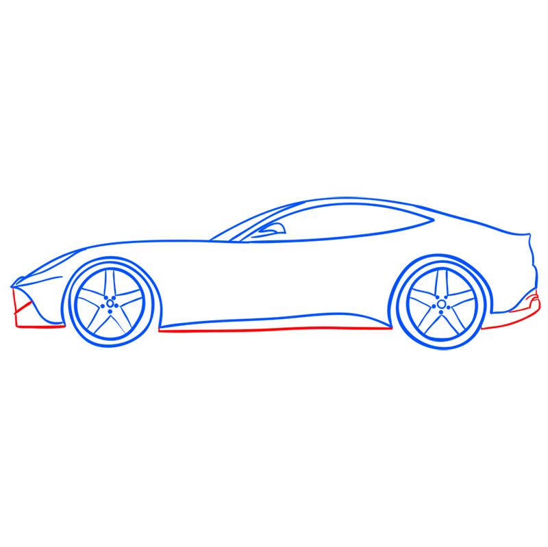 Learn easy to draw Ferrari F12 step 09