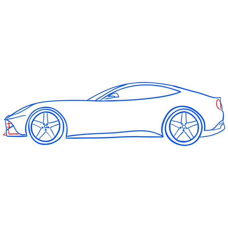 Learn easy to draw Ferrari F12 step 10