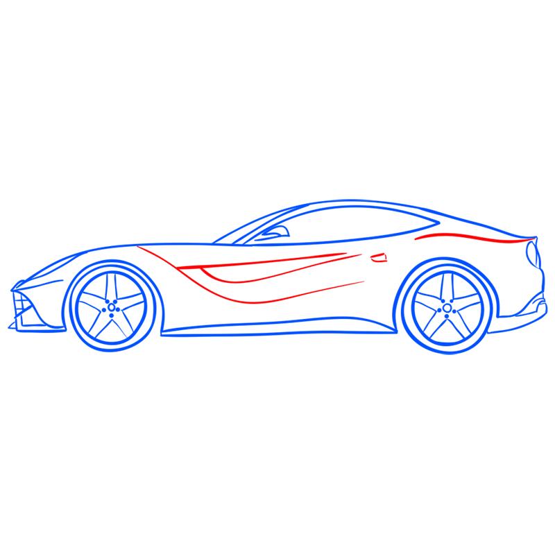Learn easy to draw Ferrari F12 step 11