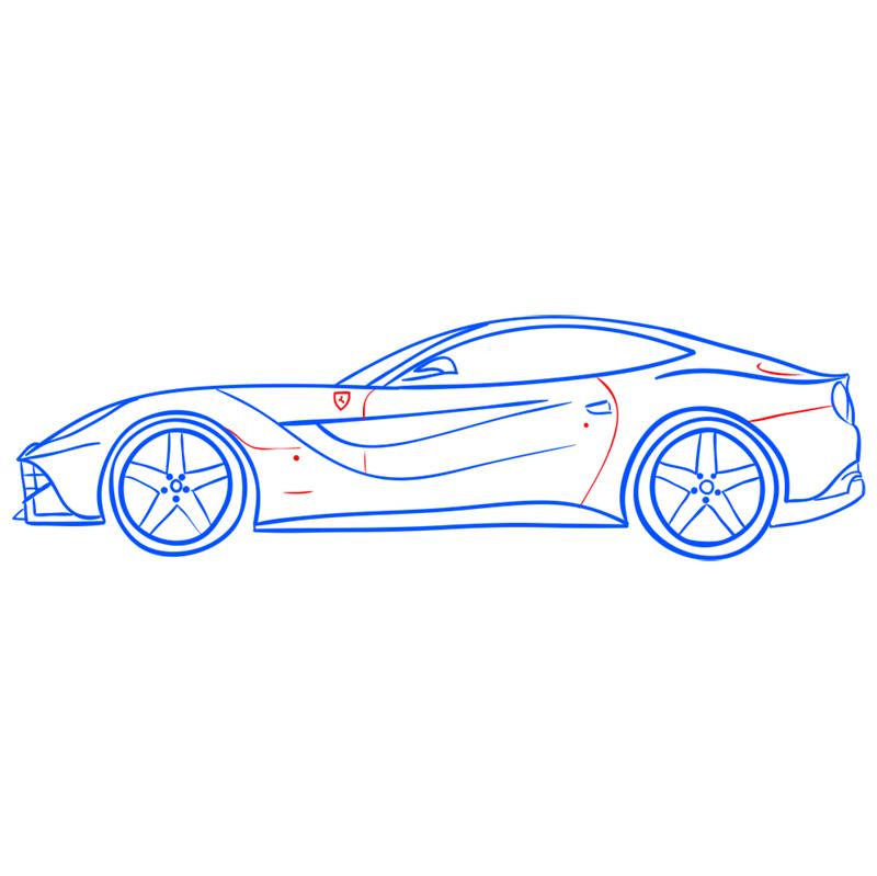 Learn easy to draw Ferrari F12 step 12