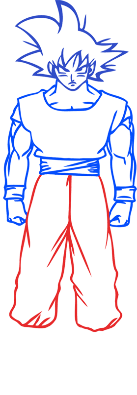 Learn easy to draw Goku Dragon Ball Z step 06