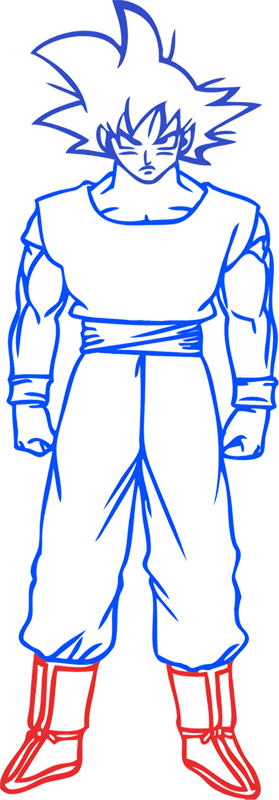 Learn easy to draw Goku Dragon Ball Z step 07