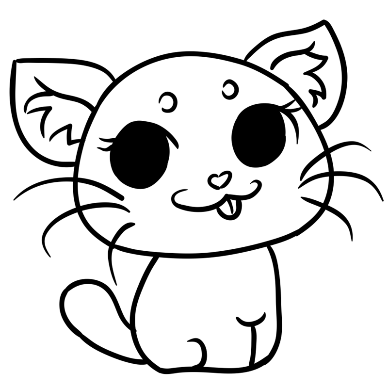 Learn easy to draw Grey Cat step 08