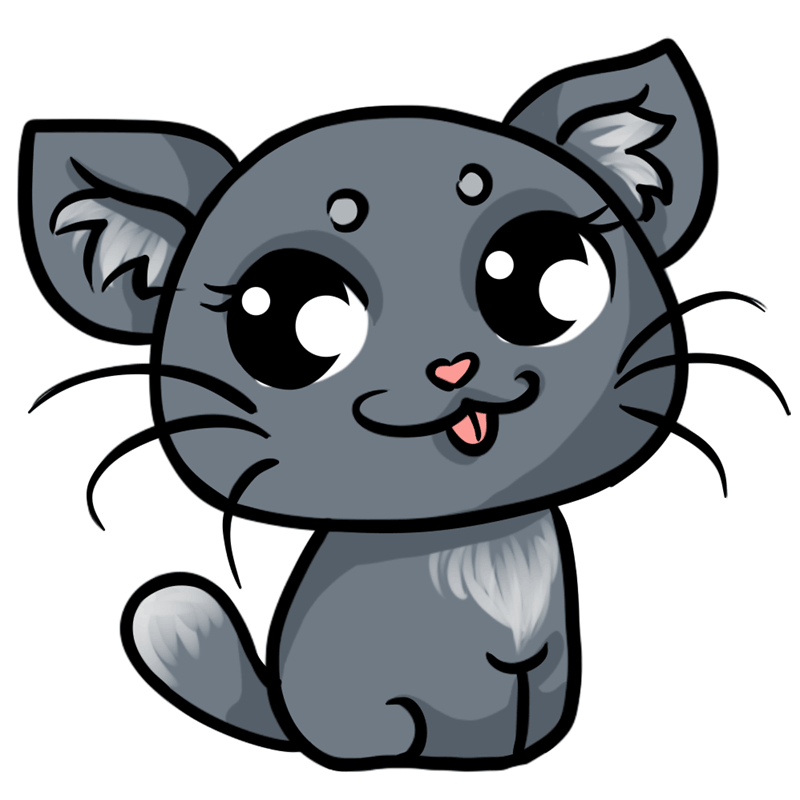 Learn easy to draw Grey Cat step 09