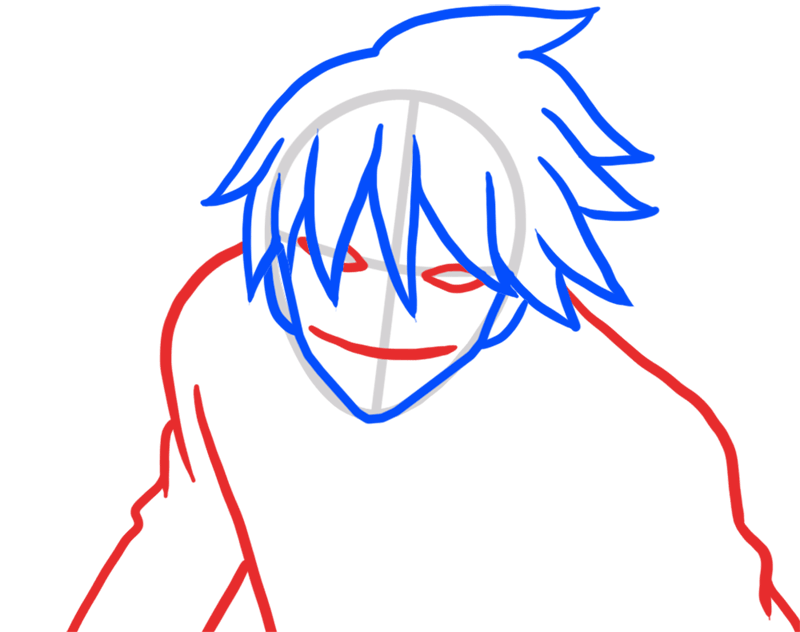 Learn easy to draw Hei Darker Than Black step 04