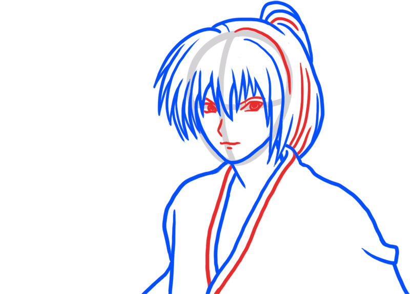 Learn easy to draw Himura Kenshin Samurai X step 04