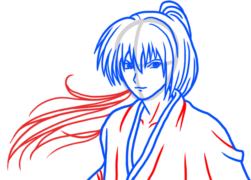 Learn easy to draw Himura Kenshin Samurai X step 05