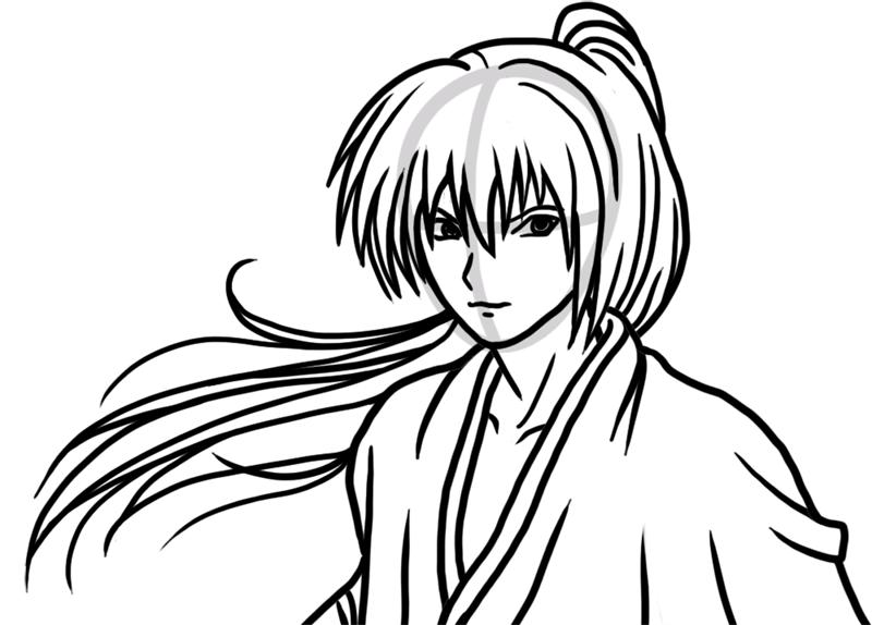 Learn easy to draw Himura Kenshin Samurai X step 06