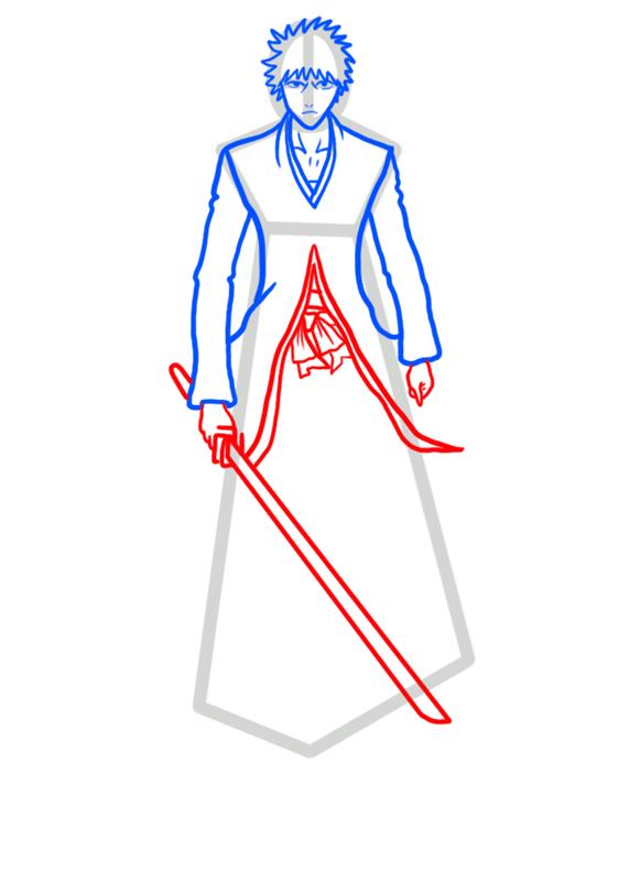 Learn easy to draw Ichigo Kurosaki Bleach step 05