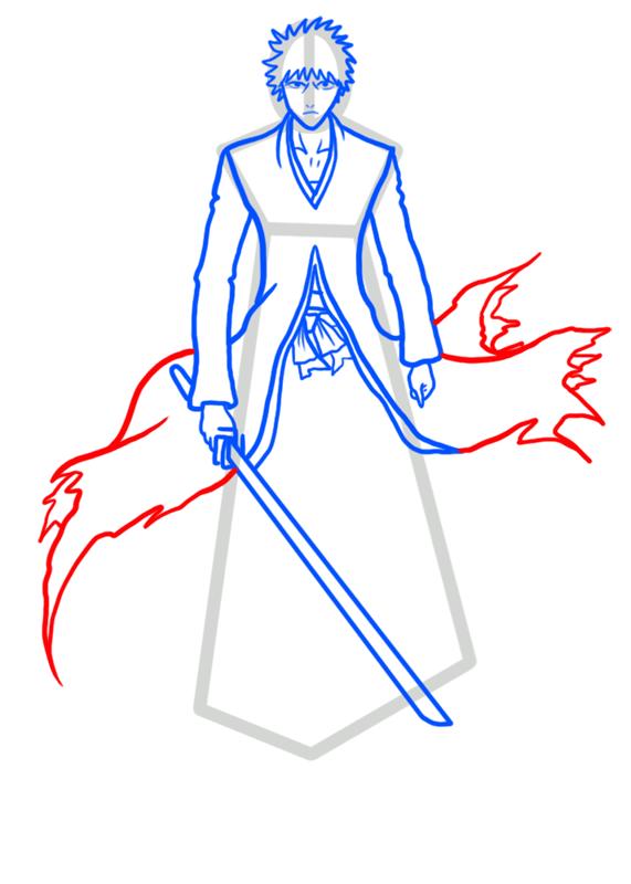 Learn easy to draw Ichigo Kurosaki Bleach step 06