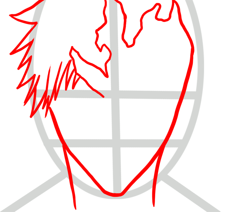 Learn easy to draw Ichigo Mask Bleach step 02