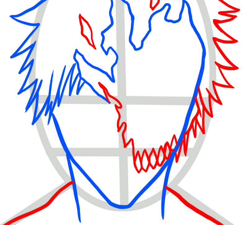 Learn easy to draw Ichigo Mask Bleach step 03