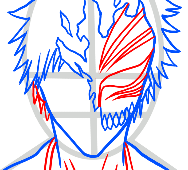 Learn easy to draw Ichigo Mask Bleach step 04