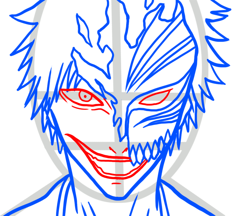 Learn easy to draw Ichigo Mask Bleach step 05