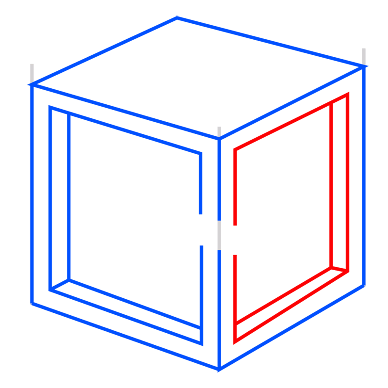 Learn easy to draw Impossible Cube step 06