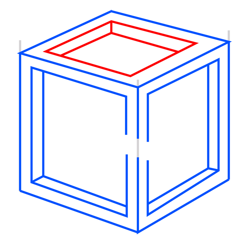 Learn easy to draw Impossible Cube step 07