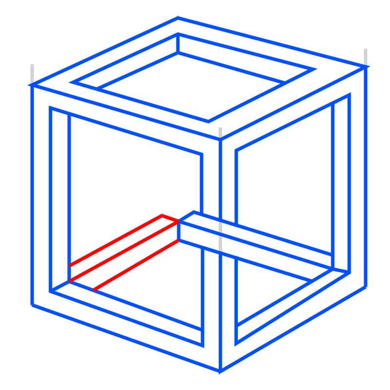Learn easy to draw Impossible Cube step 09