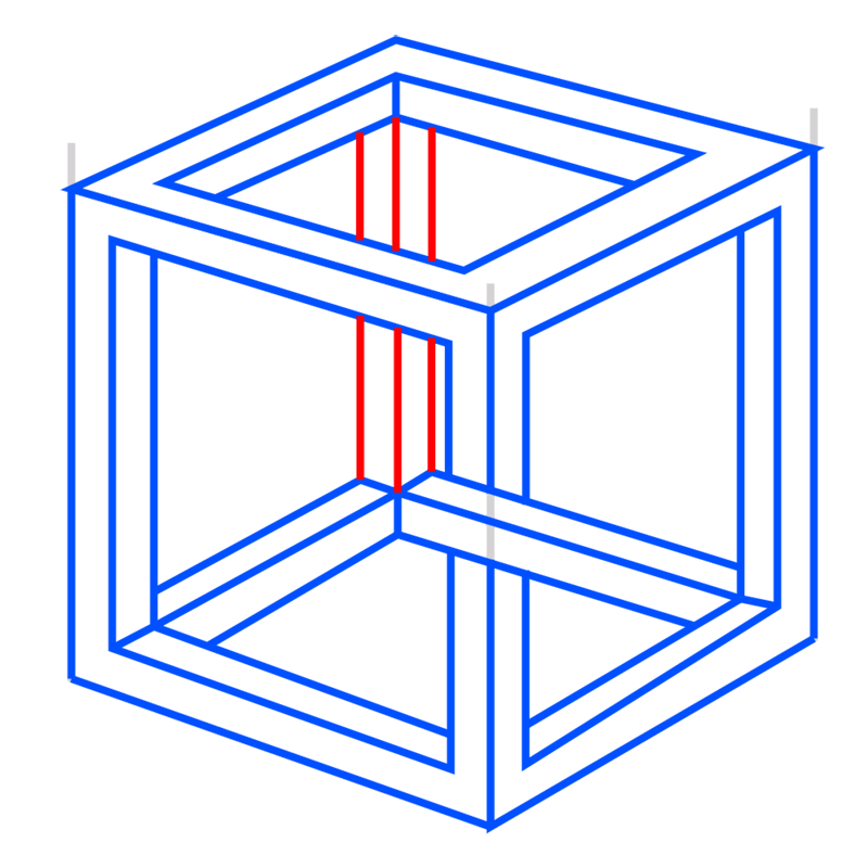 Learn easy to draw Impossible Cube step 10