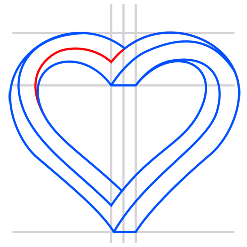 Learn easy to draw Impossible Heart step 08
