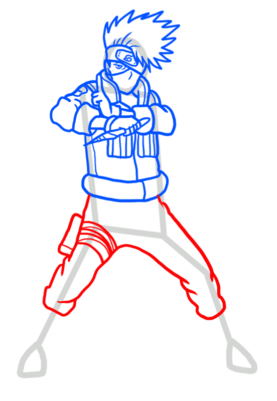Learn easy to draw Kakashi Naruto step 08