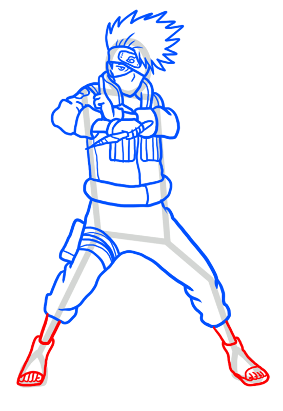 Learn easy to draw Kakashi Naruto step 09