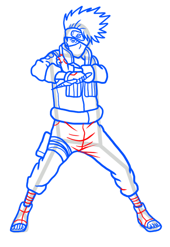 Learn easy to draw Kakashi Naruto step 10