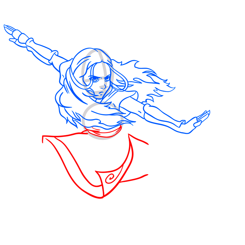 Learn easy to draw Katara Avartar step 08
