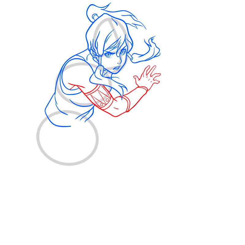 Learn easy to draw Korra Avatar step 07