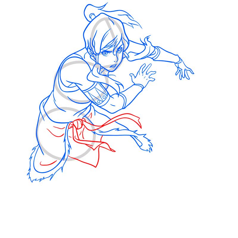 Learn easy to draw Korra Avatar step 10