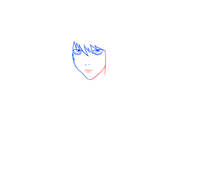 Learn easy to draw L Lawilet Death Note step 04