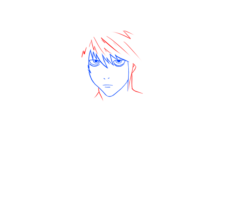 Learn easy to draw L Lawilet Death Note step 05