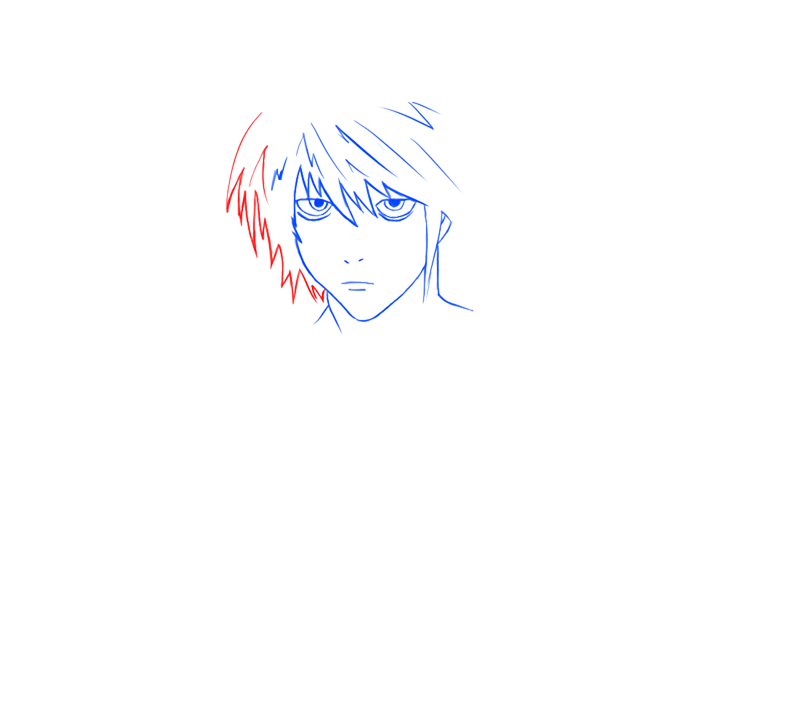 Learn easy to draw L Lawilet Death Note step 06