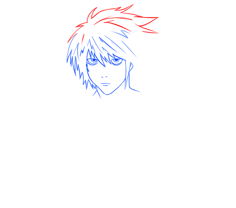 Learn easy to draw L Lawilet Death Note step 07