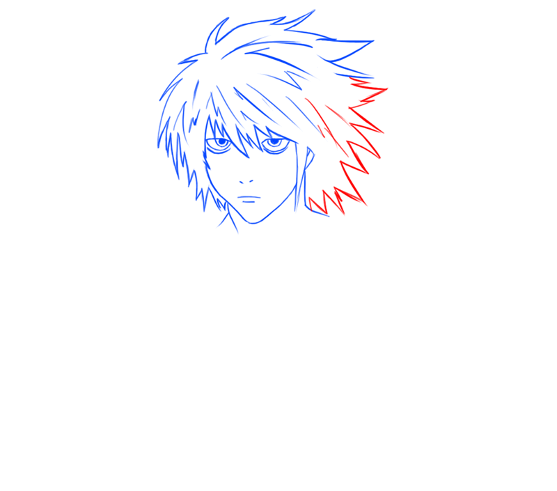 Learn easy to draw L Lawilet Death Note step 08