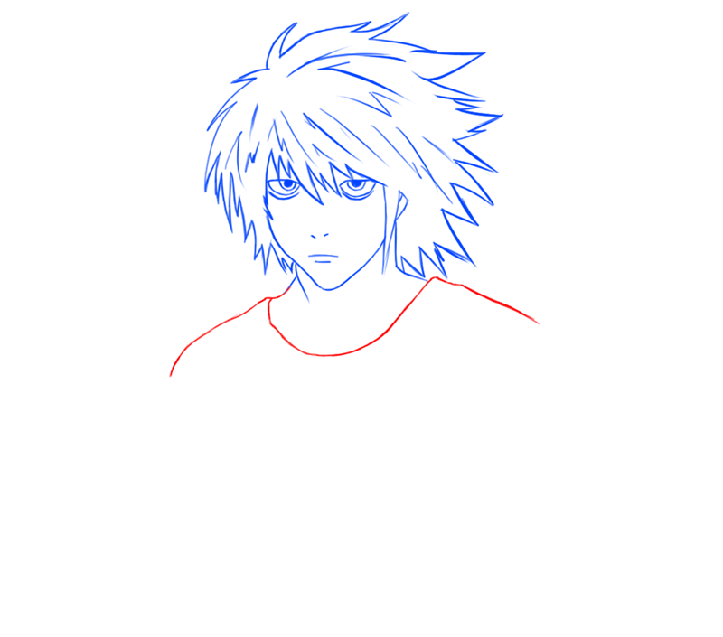Learn easy to draw L Lawilet Death Note step 09