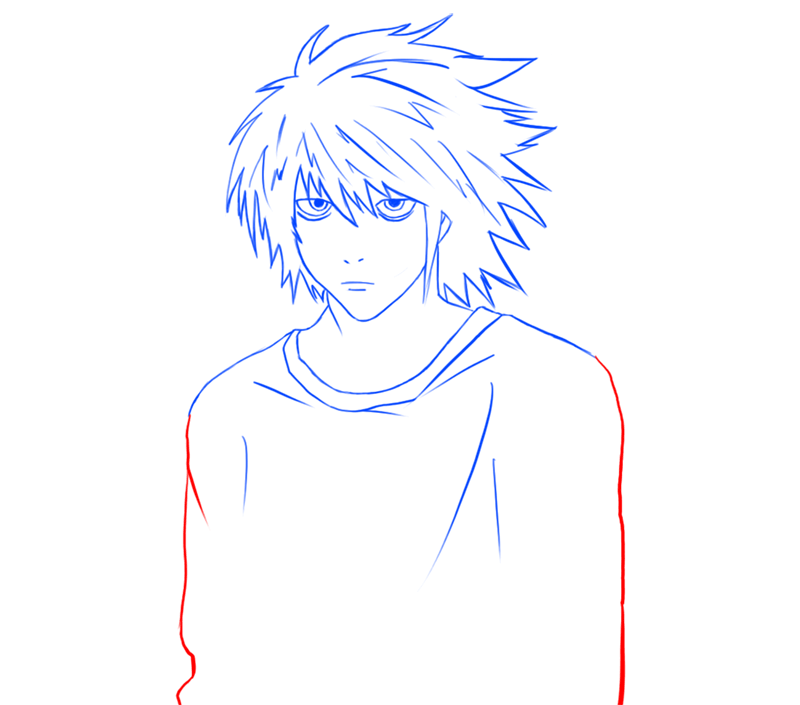 Learn easy to draw L Lawilet Death Note step 11