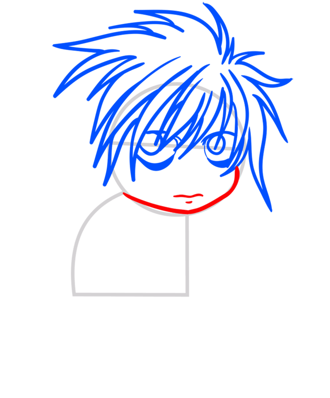 Learn easy to draw L Lawliet Chibi step 04
