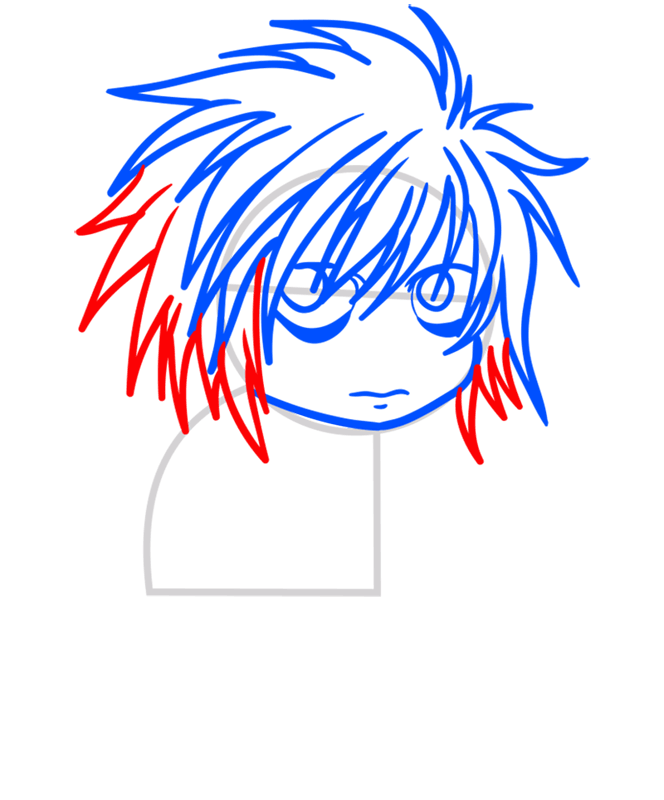 Learn easy to draw L Lawliet Chibi step 05