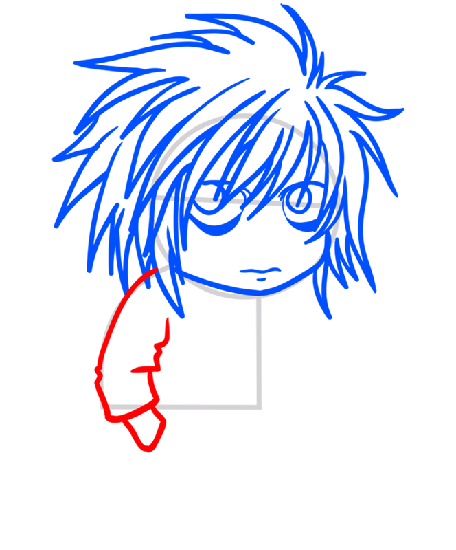 Learn easy to draw L Lawliet Chibi step 06