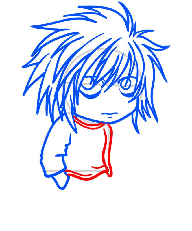 Learn easy to draw L Lawliet Chibi step 07