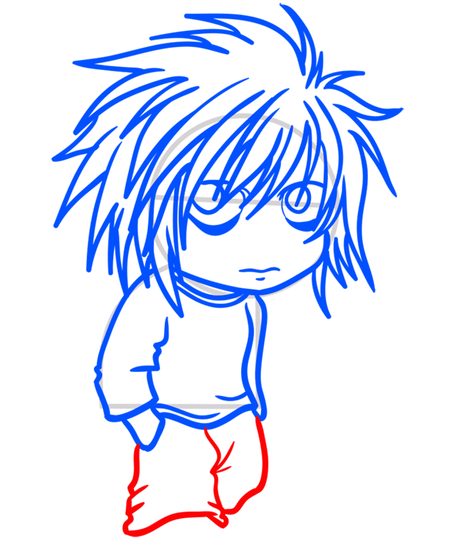 Learn easy to draw L Lawliet Chibi step 08
