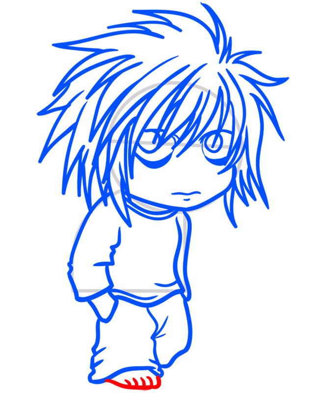 Learn easy to draw L Lawliet Chibi step 09