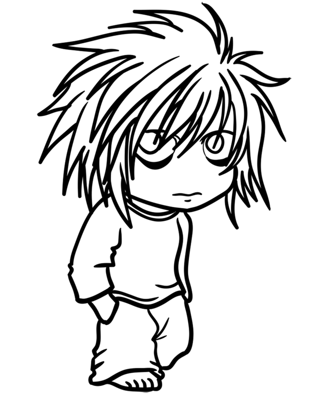 Learn easy to draw L Lawliet Chibi step 10